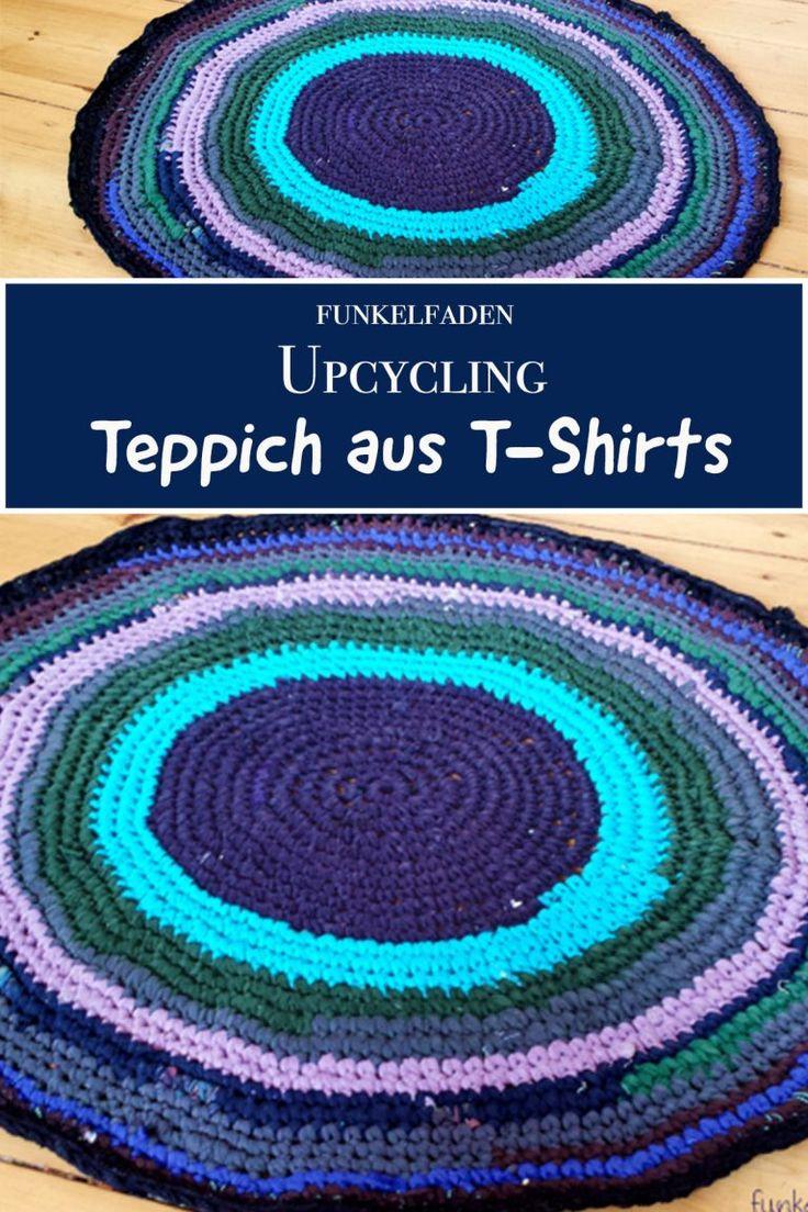 Haak upcycling – Tapijt van oude T-shirts – Eenvoudige gids> Doe het zelf> Gratis haakpatroon, Upcycling T-shirts, gehaakt kleed, Upcycling, Upcycling-ideeën