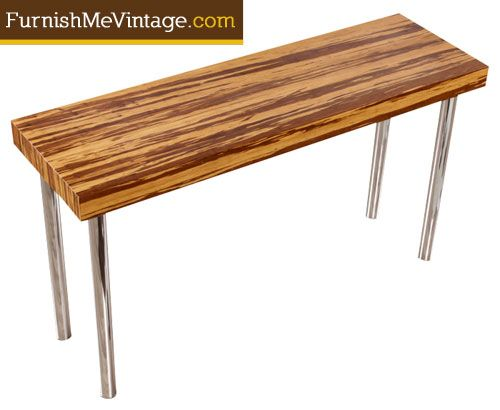 Gorgeous Tiger Striped Exotic Bamboo Table Top Balances Gracefully On Four  Polished Chrome Legs. A