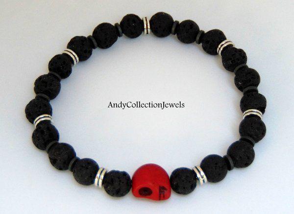 Men's Halloween Wristband with Black Lava Stones and Burgundy Howlite Skull