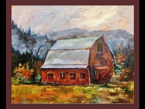 How to Paint a Red Barn Beginner Acrylic Painting Tutorial with Ginger Cook - YouTube