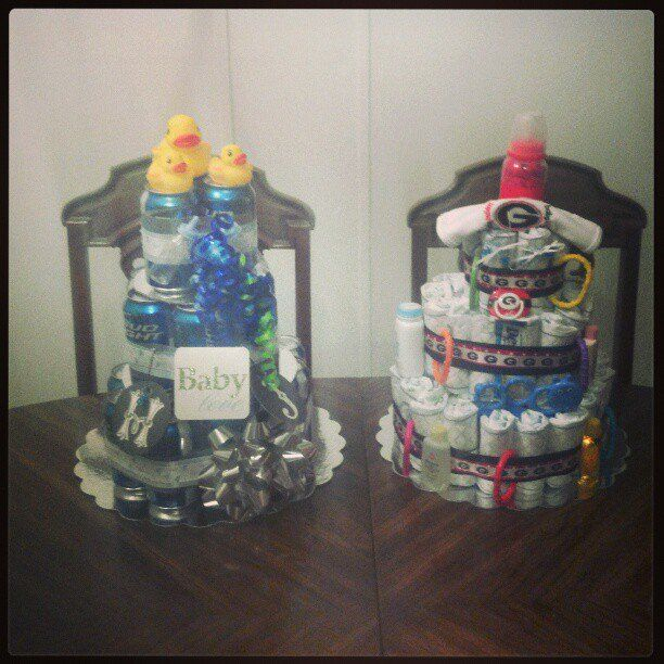 Pin for Later: Huggies and Chuggies: 20 Cakes For Your Partner's Man Shower Lucky Duck Because a diaper cake isn't complete without some bath-time toys.