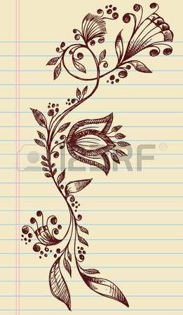 Цветочный: Поверхностный Хна Doodle элегантные цветы и виноградные лозы ручной обращается векторные