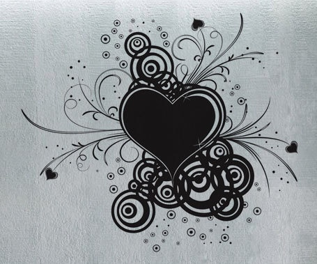 Modern Heart Swirls  - Wall Decal Vinyl Decor Art Sticker Removable Mural Modern.