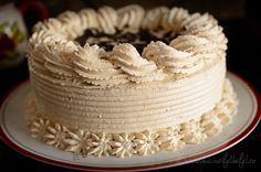Mod de preparare Tort cu crema de unt si mascarpone: Blat: Amestecam faina cu cacaoa, zaharul pudra, praful de copt si un praf de sare. Dupa ce le-am amestecat