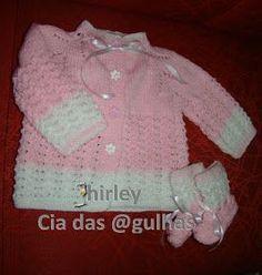 Casaquinho Tricô Bebê – Pala de pinheirinhos Material: Lã Super Bebe da Cisne Agulha de tricô 4 Pontos: Meia Tricô Laçada Fantasia: m...