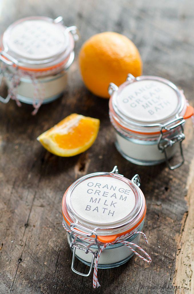Homemade Orange Cream Milk Bath in a Jar