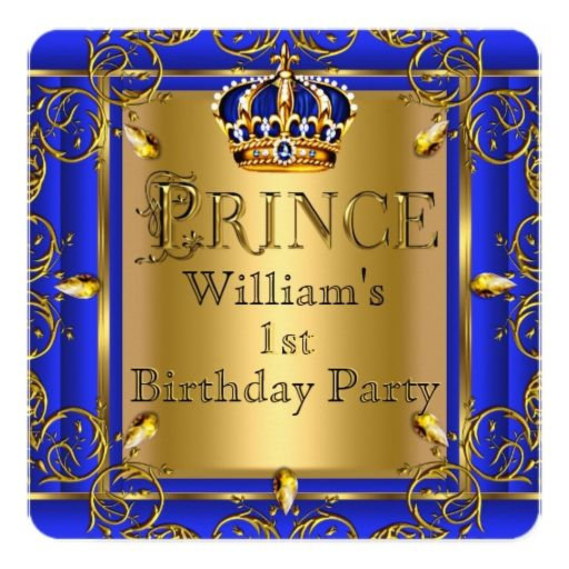 First Birthday Boy Boy Birthday Crown Boy Birthday: Royal Blue Gold Crown Prince 1st Birthday Boys 2 Card