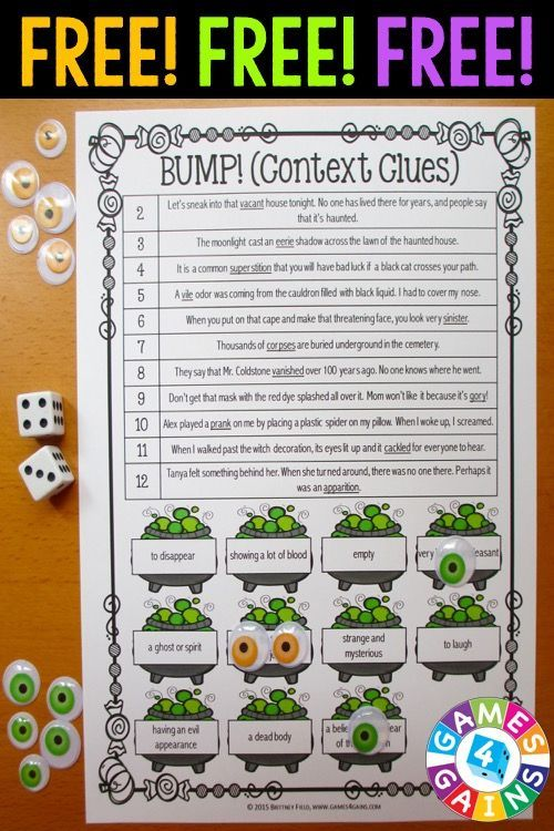 Halloween Games FREE contains 2 fun and engaging Halloween-themed bump games to help students to practice idioms and context clues. These games are so simple to use and require very minimal prep. They are perfect to use in literacy centers or as extension activities when students complete their work!