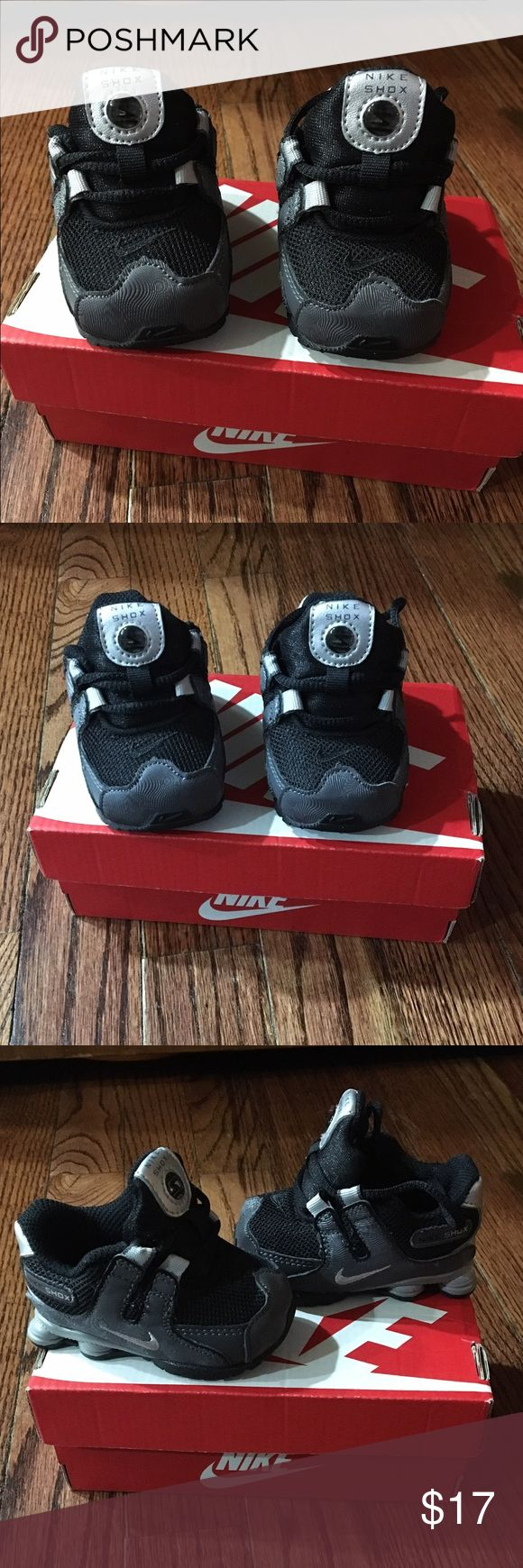 Infant Nike shox nz sms (ps) black/gray size 2y These are NEW in box! (worn once by an infant) Nike shox nz sms (ps) in black, metallic silver and dark gray. Size is 2 for baby. Nike Shoes Sneakers