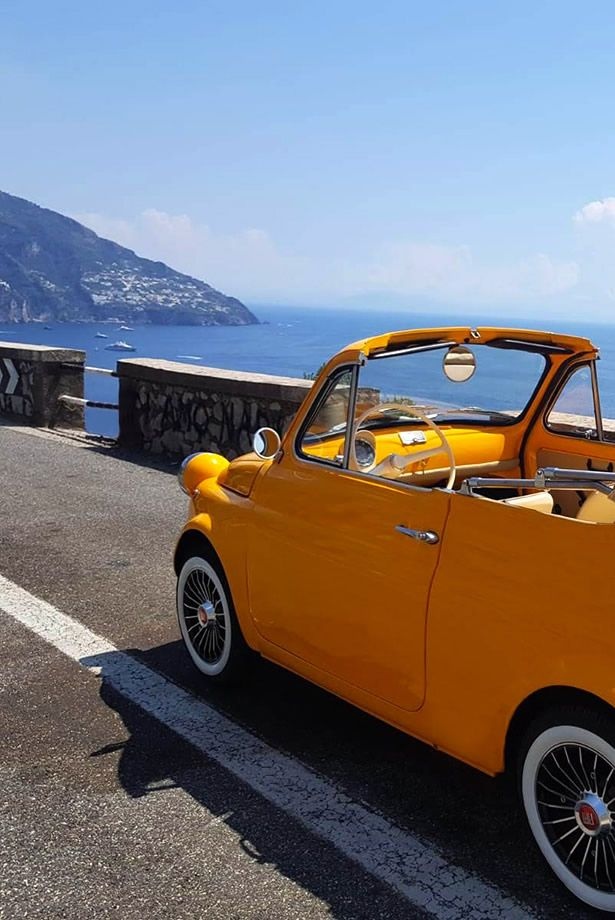 Yellow Vintage 500 Wedding In Vintage Car Fiat 500 Rental With