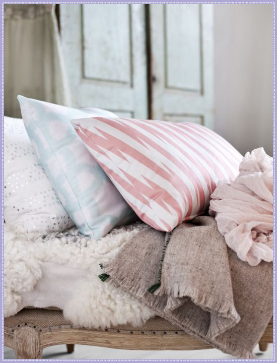 love the pillow combination... vintage pastel by layla grayceDecor, Luxury House, Bedrooms Colors, Shabby Chic, Soft Colors, Bedrooms Inspiration, Diy Bedrooms, Pillows, Bedrooms Ideas