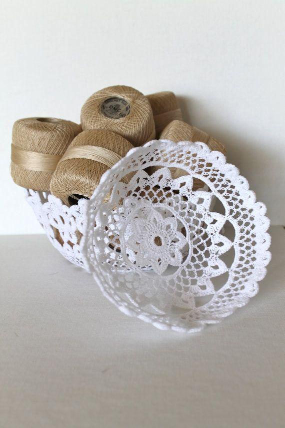 Handmade White Lace Crochet Bowls