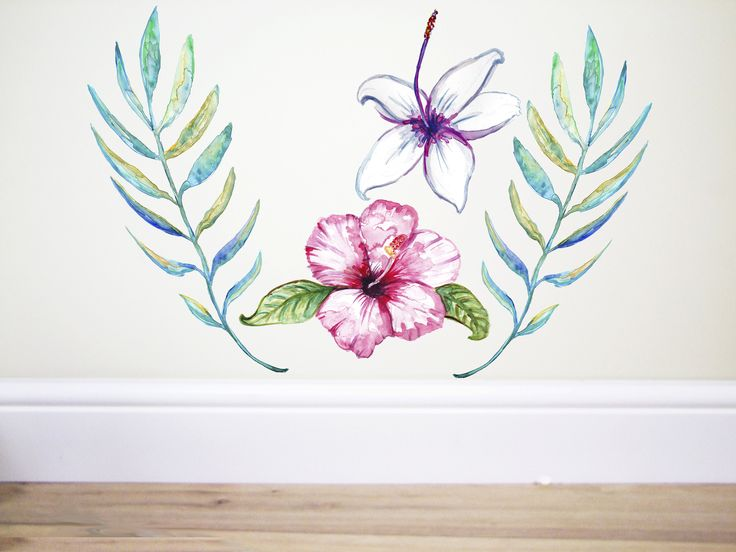 Tropical flowers,tropical wall decals,flower wall sticker,tropical decor,flower sticker,floral stickers,floral wall decals,nursery decor,art by TheWoodlandHaven on Etsy