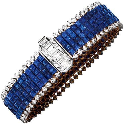 Diamond and sapphire bracelet #diamondbracelet