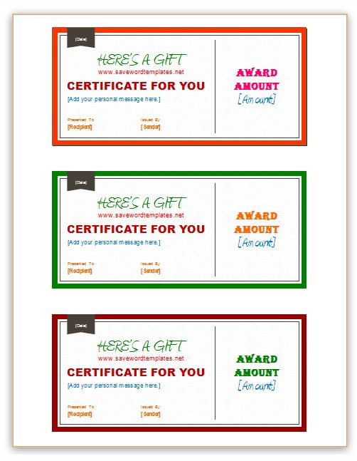 Gift Certificate Template Pages - Full page gift certificate template