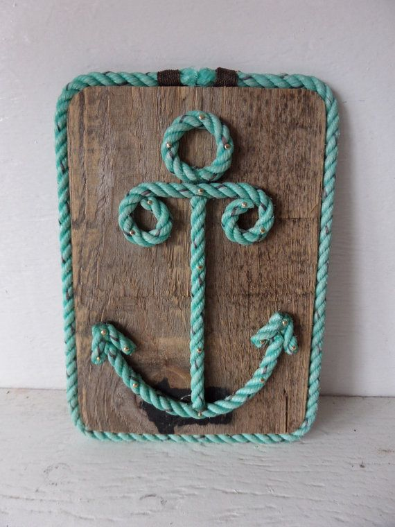 Reclaimed Wood with Rope Shaped Anchor Nautical Decor Wall Hanging Sign Nautical Nursery on Etsy, $40.00