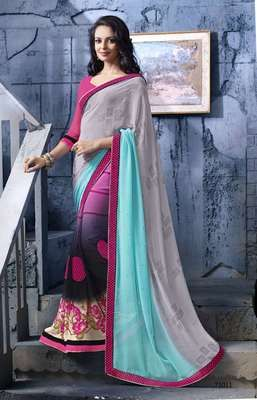 Sophisticated Multi Colored Printed Faux Georgette Saree Sarees on Shimply.com