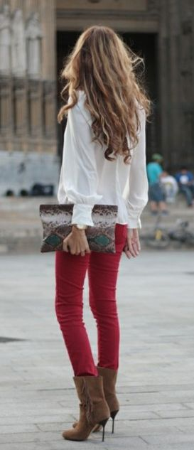 : Fashion, Red Skinny, Red Jeans, Street Style, Outfit, Fall Winter, Red Pants