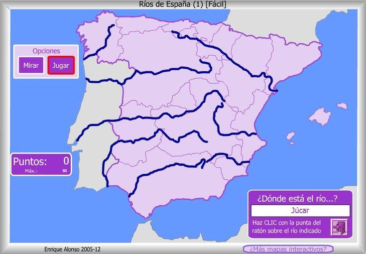 Mapa interactivo de España Ríos de España. Nivel fácil