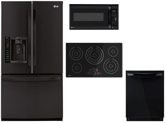 Lg Lg4pcfsfdfibkkit2 4 Piece Kitchen Package With Lce3610sb 36 Electric Cooktop Lmv2031sb Over The Range