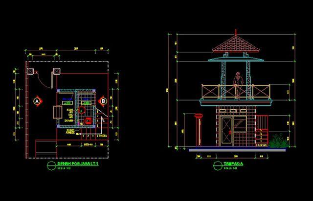 Gambar Kerja Desain Pos Jaga 2 Lantai File Dwg Desain Lantai