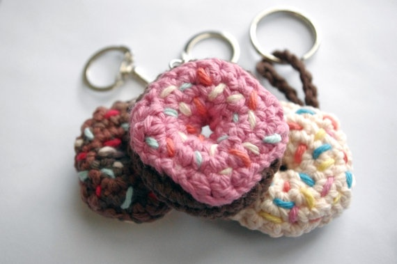 Donut Chocolate Keychain Pink frosted Crochet by Katswag on Etsy, $7.00