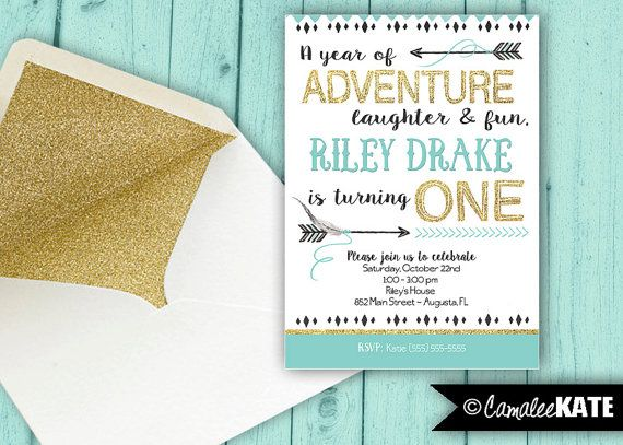 Best Wild ONE Black Gold And Turquoise St Birthday Party - Digital first birthday invitation