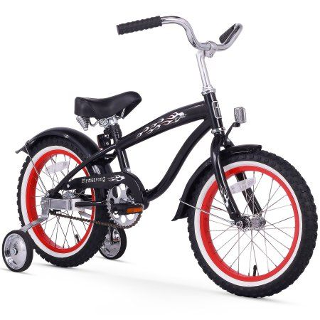 16 inch Firmstrong Bruiser Single Speed Boys? Bicycle with Training Wheels, Black
