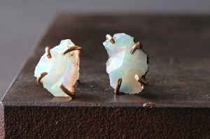 raw opal stud earrings   ::   Alexis Russell