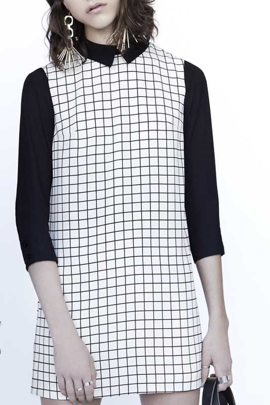 """Felipo Dress Printed """"A"""" line dress with shirt collar and sidebands"""