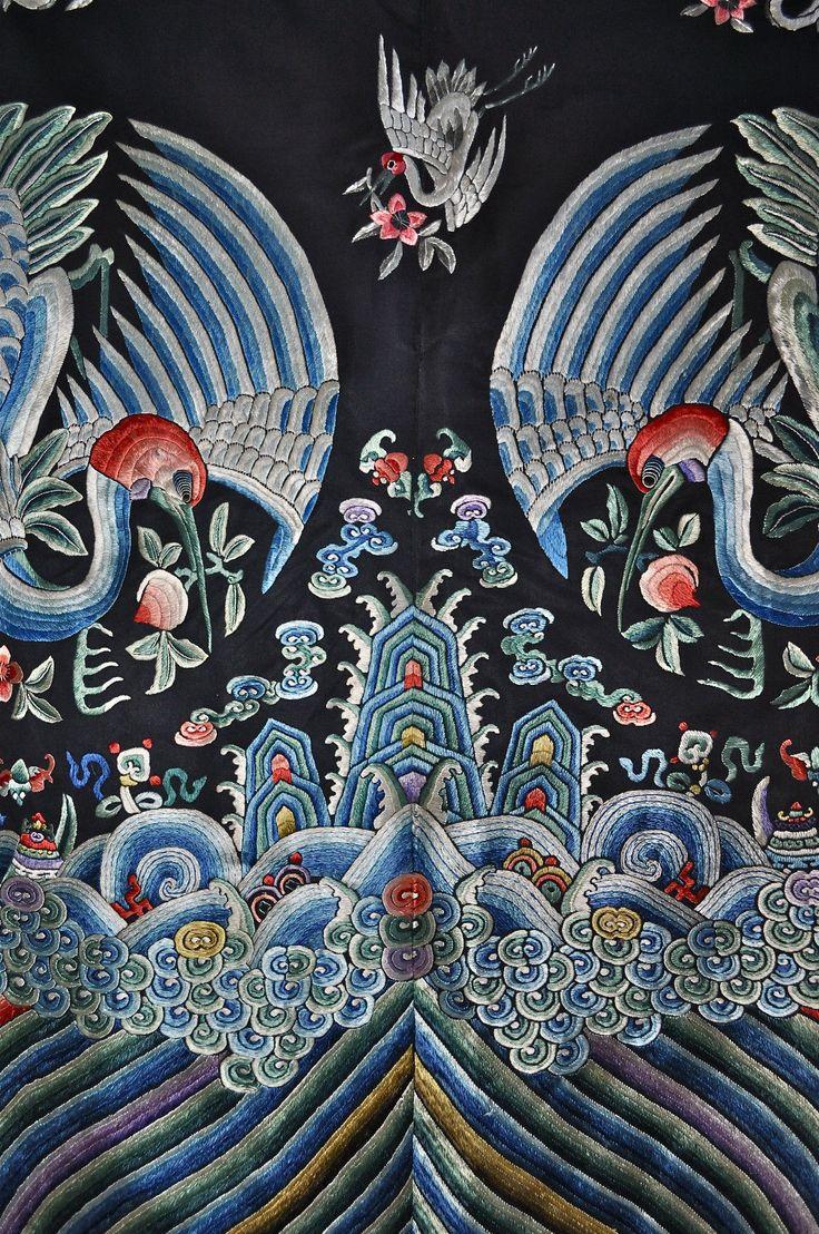 Exceptional Antique Chinese Crane Robe Embroidered Silk 1850 | eBay