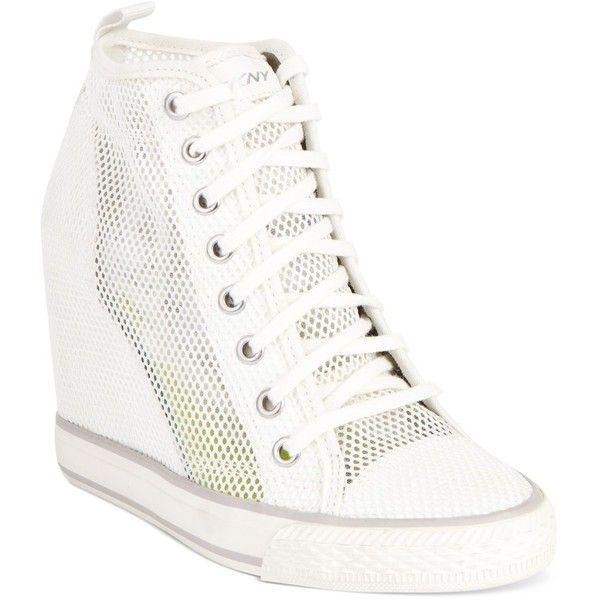 DKNY Women's Shoes, Grommet Wedge Sneakers ($165) ❤ liked on Polyvore featuring shoes, sneakers, hidden wedge heel sneakers, hidden wedge sneakers, multicolor sneakers, colorful wedge sneakers and multi colored shoes