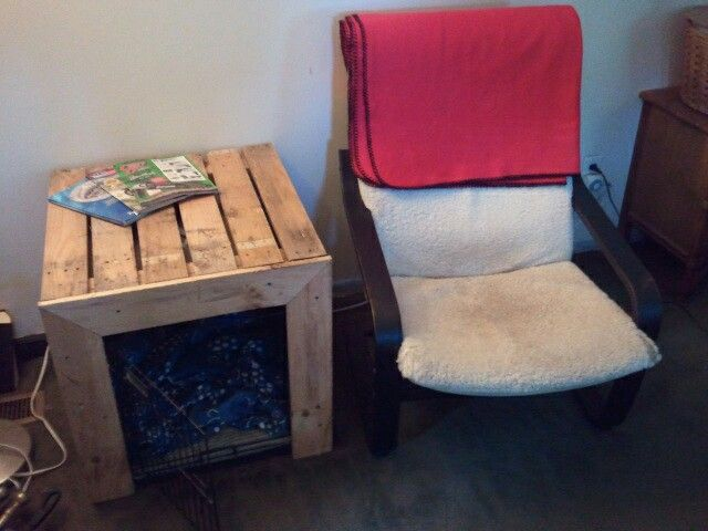 DIY Pallet Dog Crate Hide End Table Fur Babies