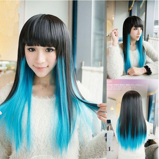 70 cm Noir Bleu Harajuku Lolita Frange Soignées Perruque Femme Anime Ombre Cosplay Perruques Produits De Sexe Perruques Cheveux Arc-En-Synthétique perruques