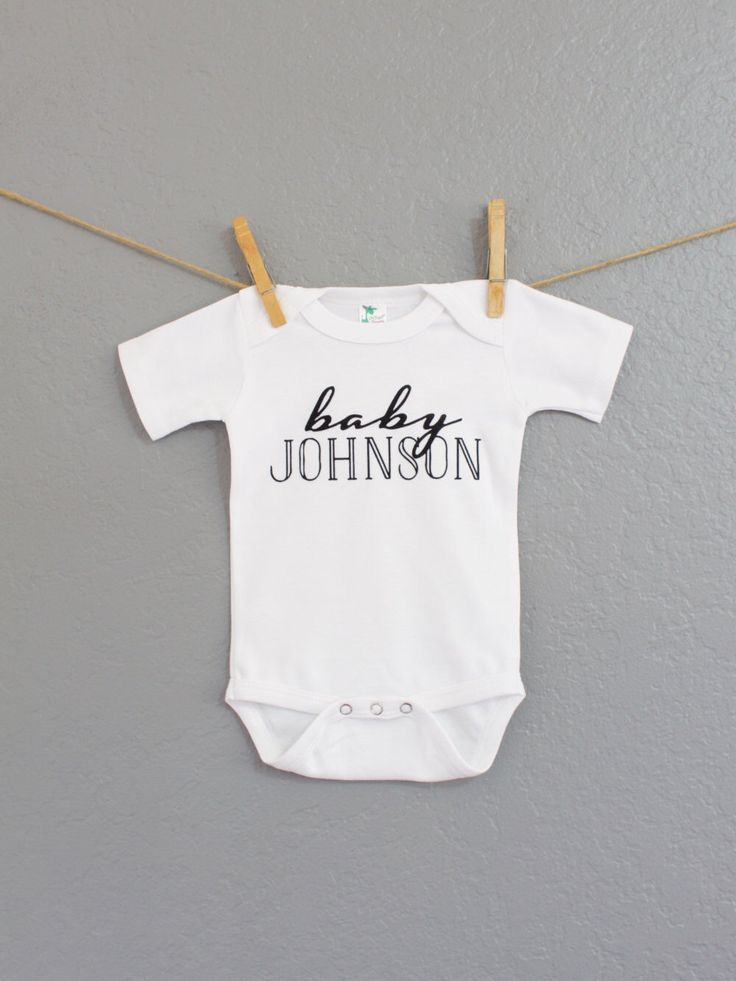 Personalized Soft White Baby Onesie, Last Name Onesie, Baby Bodysuit, Cute Baby Clothes, Cute Baby, Baby Boy, Baby Girl, Personalized Gift by ATEAPPAREL on Etsy https://www.etsy.com/listing/242283614/personalized-soft-white-baby-onesie-last