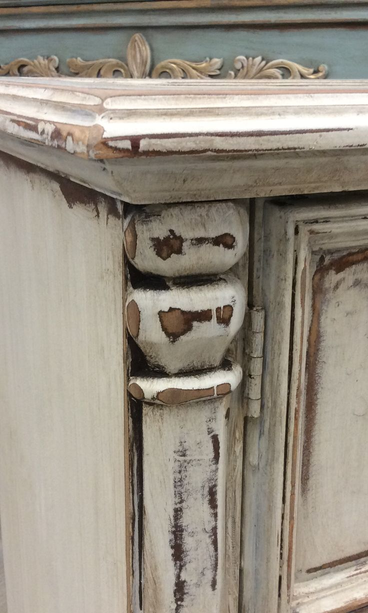 Detail Of Chest Painted In Creamy Linen And Tea Stain Antiquing Gel By  Farmhouse Paint.