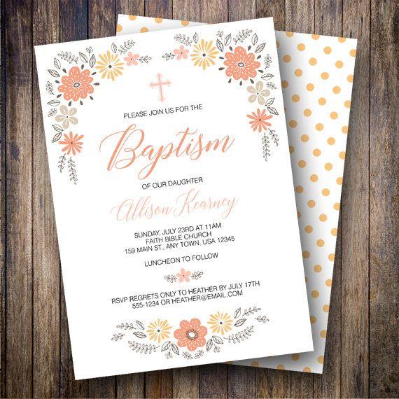 68 best baptism dedication invitations images on pinterest floral baptism invitation girl baptism invitation baptism invite with flowers cross pink stopboris Gallery