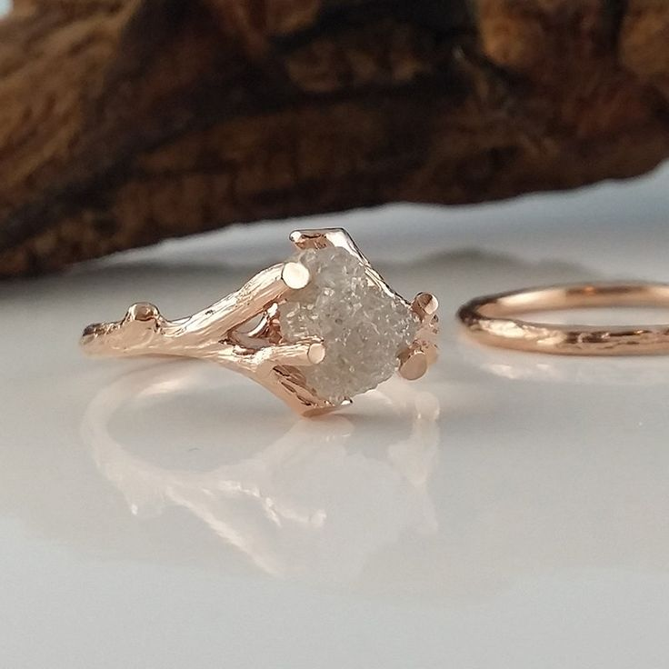 Available Now, Raw Uncut Rough Twig Diamond Solitaire Engagement Ring, Twig Wedding Band Rough 14k Rose Gold Wedding Ring, Wedding Set by DawnVertreesJewelry on Etsy