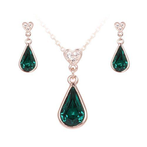 Fashion Plaza Gold Plated Rain Drop Deep Green Swarovski Crystal Pendant Necklace and Dangle Earrings Set S75, http://www.amazon.co.uk/dp/B00E582DEO/ref=cm_sw_r_pi_awdl_FIsPtb19HK3JQ