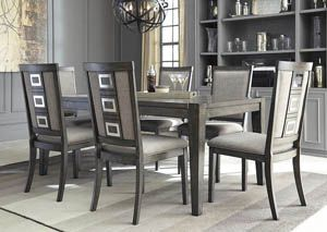 Chadoni Gray Rectangular Dining Room Extension Table W 6 Upholstered Side Chairs