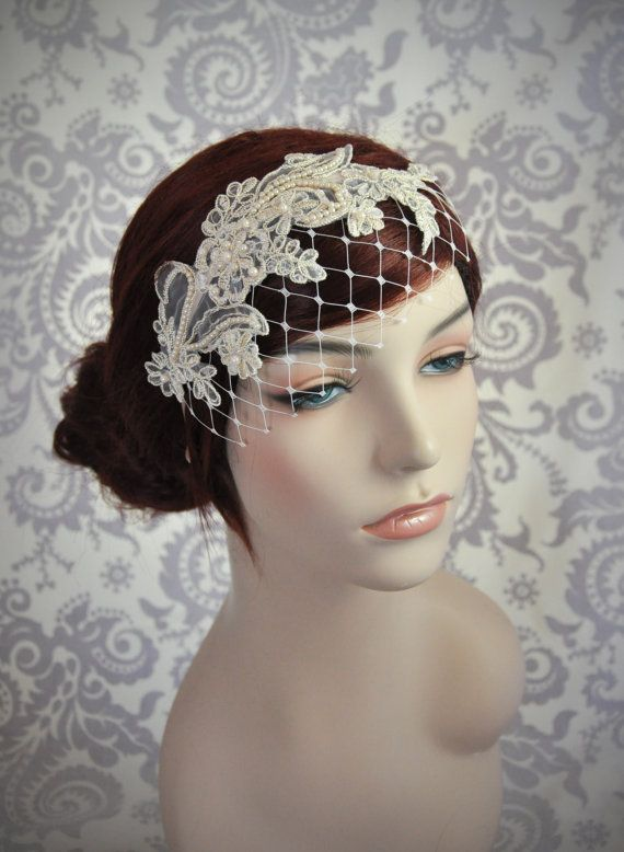 Champagne Birdcage Veil with Merry Widow by Januaryroseboutique