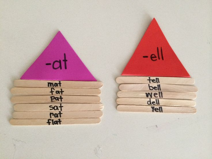 Word family houses using Popsicle sticks. You can use different colored foam triangles for each word family roof.