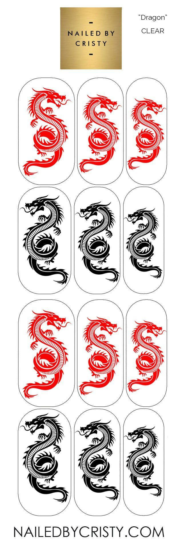 Decals- Dragon CLEAR in 2020 | Dragon nails, Clear acrylic ...