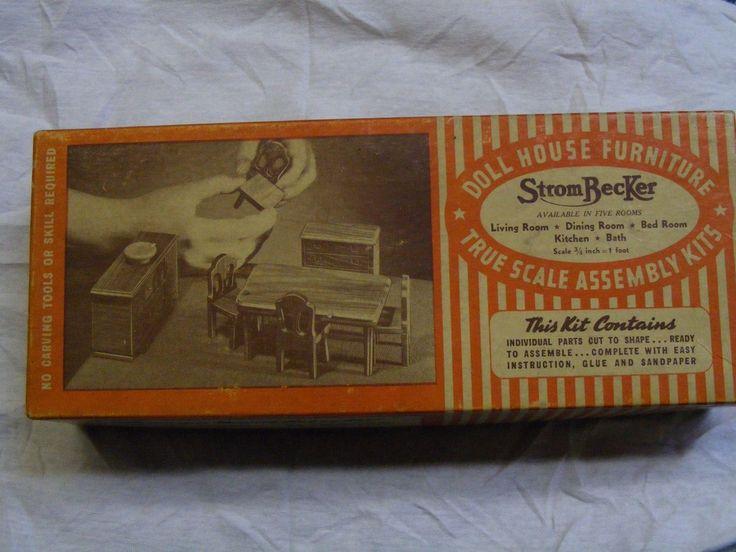 VINTAGE DOLLHOUSE STROMBECKER DINING ROOM KIT IN ORIGINAL BOX | eBay