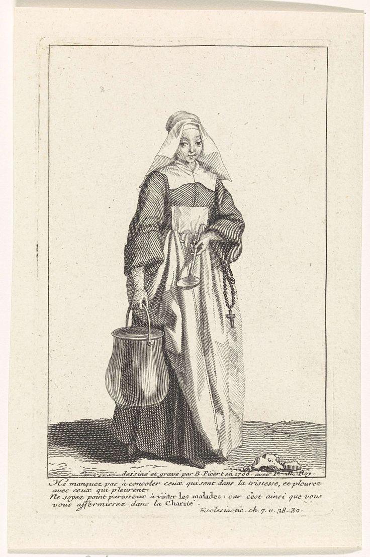 Bernard Picart   Non met ketel en lepel in de handen, Bernard Picart, 1706   Non in eigentijds kostuum, langs haar zij hangt een rozenkrans. In de marge een vierregelig Bijbelcitaat in het Frans.