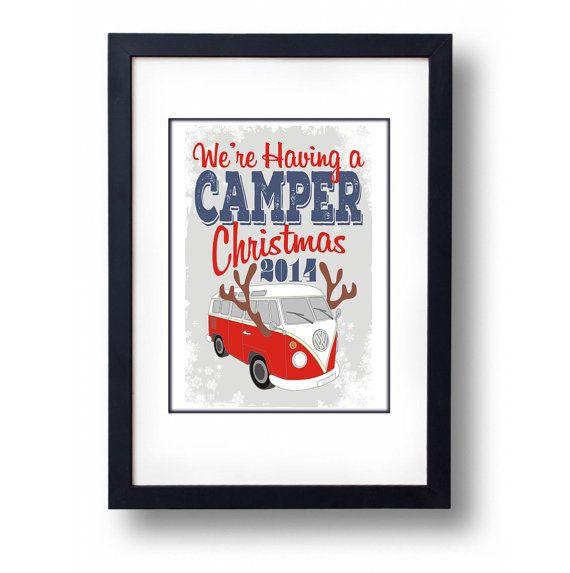 Camper Van Christmas Art Print Lovely by mammothcreativeworks