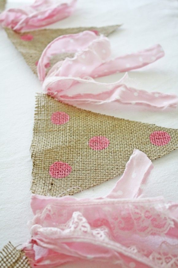 Shabby Chic Bunting | http://CatchMyParty.com