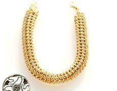"""""""Gold Snake """"- Brățară din zale din sârmă gilt"""