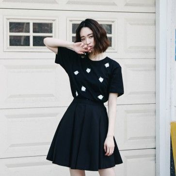 [Lucky Flower Tee: Black] A #tee, #top, #tshirt featuring embroidery #flowers. Round neckline. Short sleeves. #floraltee #floraltop #asianclothes #asianclothing #korean #fashion #shopping #onlineshopping #onlinestore #fashiontoany