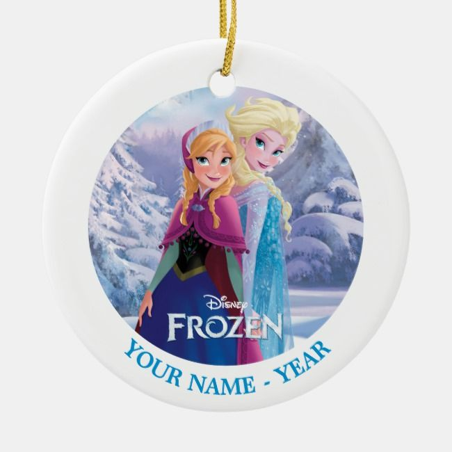 Elsa And Anna Back To Back Add Your Name Ceramic Ornament Zazzle Com Kids Birthday Party Supplies Ceramic Ornaments Disney Christmas
